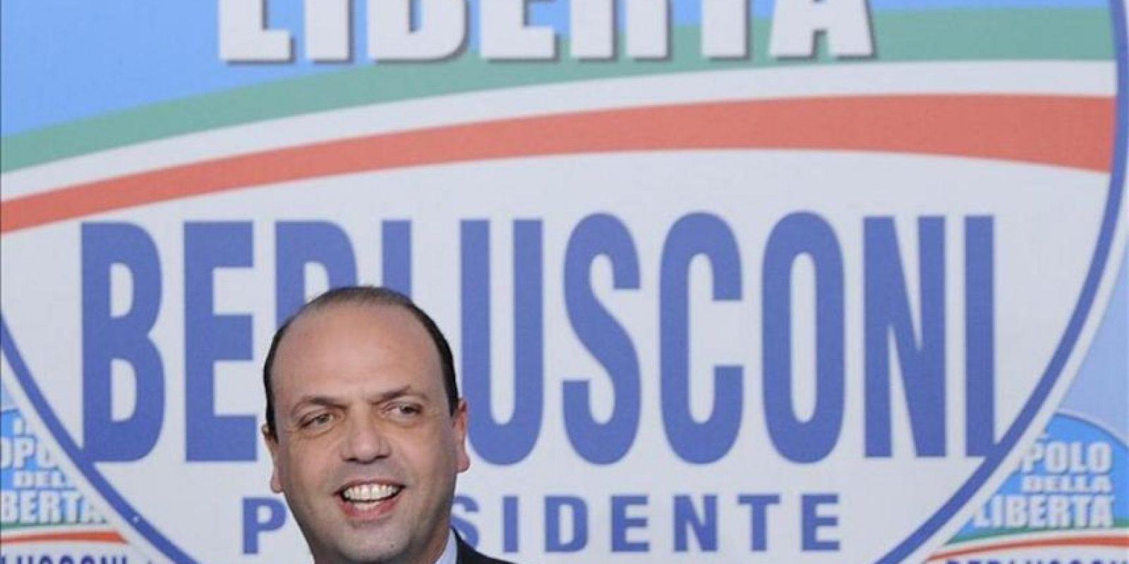 """Angelino Alfano, secretario político del partido """"El Pueblo de la Libertad"""", ofrece una rueda de prensa ayer en Roma. EFE"""