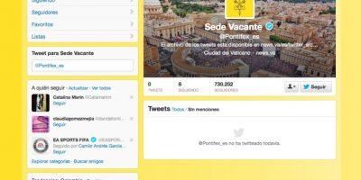 La cuenta en español de Twitter, @Pontifex_es también quedó vacante. El expapa Benedicto XVI fue el primero en la historia en usar medios digitales para comunicarse con sus fieles.