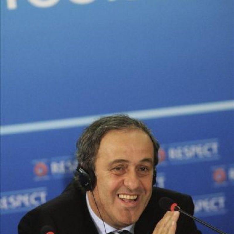 El presidente de la UEFA, Michel Platini durante una rueda de prensa celebrada en Sofía, Bulgaria. EFE