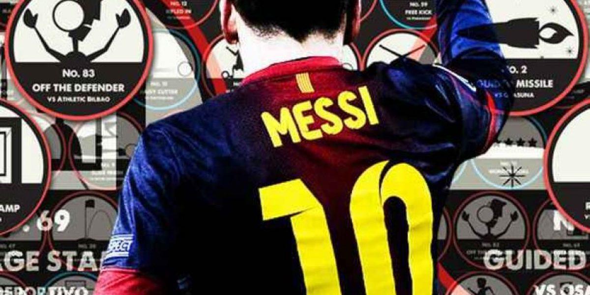 Los 91 goles de Messi en un póster artístico