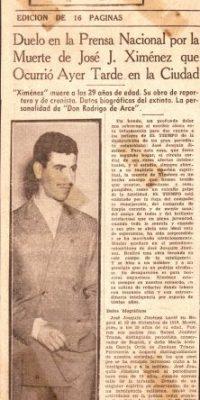 Obituario de 'Ximénez', quien murió a los 35 años en 1946. Foto:Cortesía