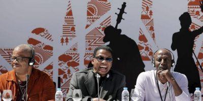 Los músicos de jazz Terence Blanchard Herbie Hancock y Thelonious S. Monk Jr. dan una rueda de prensa convocada por el Día Internacional de Jazz en Estambul (Turquía) hoy, lunes 29 de abril de 2013. EFE