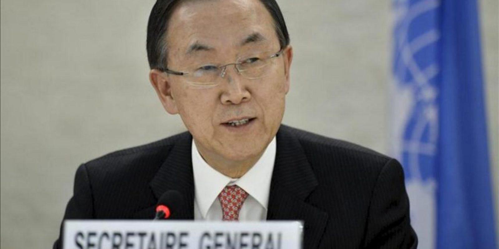 """En la imagen un registro del Secretario General de la ONU, Ban Ki-moon, quien dijo que se toma """"seriamente"""" las informaciones divulgadas la semana pasada por Estados Unidos acerca del posible empleo de armas químicas por parte del régimen sirio. EFE/Archivo"""