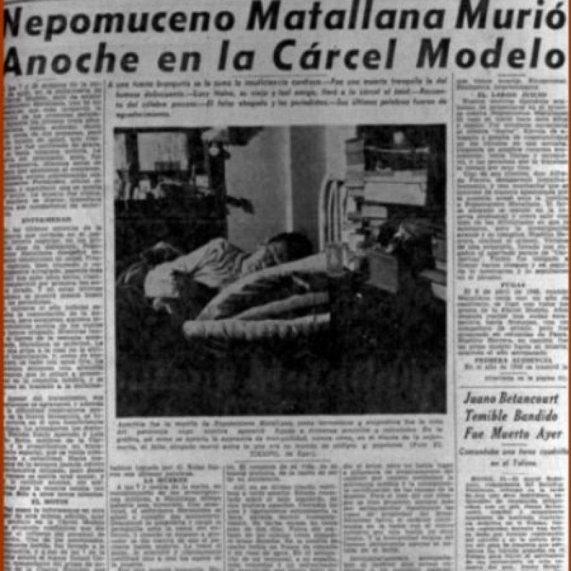 Nepomuceno Matallana nació en Chiquinquirá y se desempeñó como abogado. Labor en la que asesinó a 35 de sus clientes. Matallana murió mientras pagaba condena en la Cárcel La Modelo en 1960. Foto:Banco República