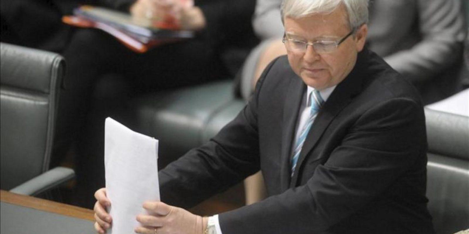 El nuevo primer ministro australiano, Kevin Rudd, se dirige a los miembros de la Cámara de Representantes hoy, miércoles 27 de junio de 2013, en la sede del Parlamento, en Camberra (Australia). EFE