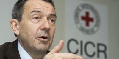 El presidente del Comité Internacional de la Cruz Roja (CICR), el suizo Peter Maurer, ofrece una rueda de prensa en la sede del CICR en Ginebra, Suiza. EFE/Archivo