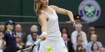 La tenista colombiana Mariana Duque-Marino durante un partido de segunda ronda del torneo de tenis de Wimbledon. EFE