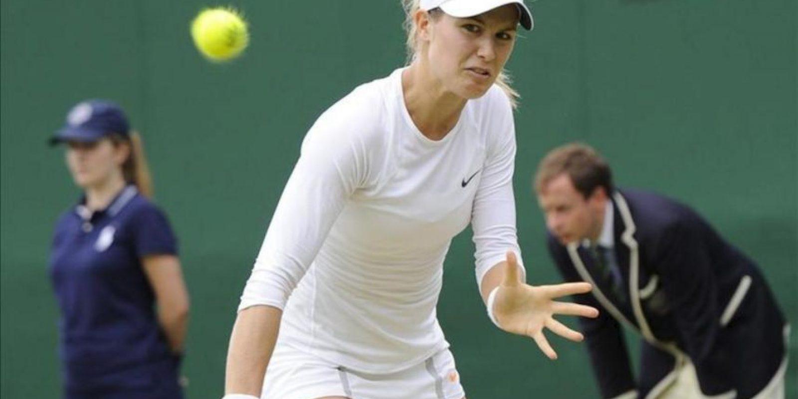 La tenista canadiense Eugenie Bouchard durante el partido de tercera ronda del torneo de tenis de Wimbledon. EFE