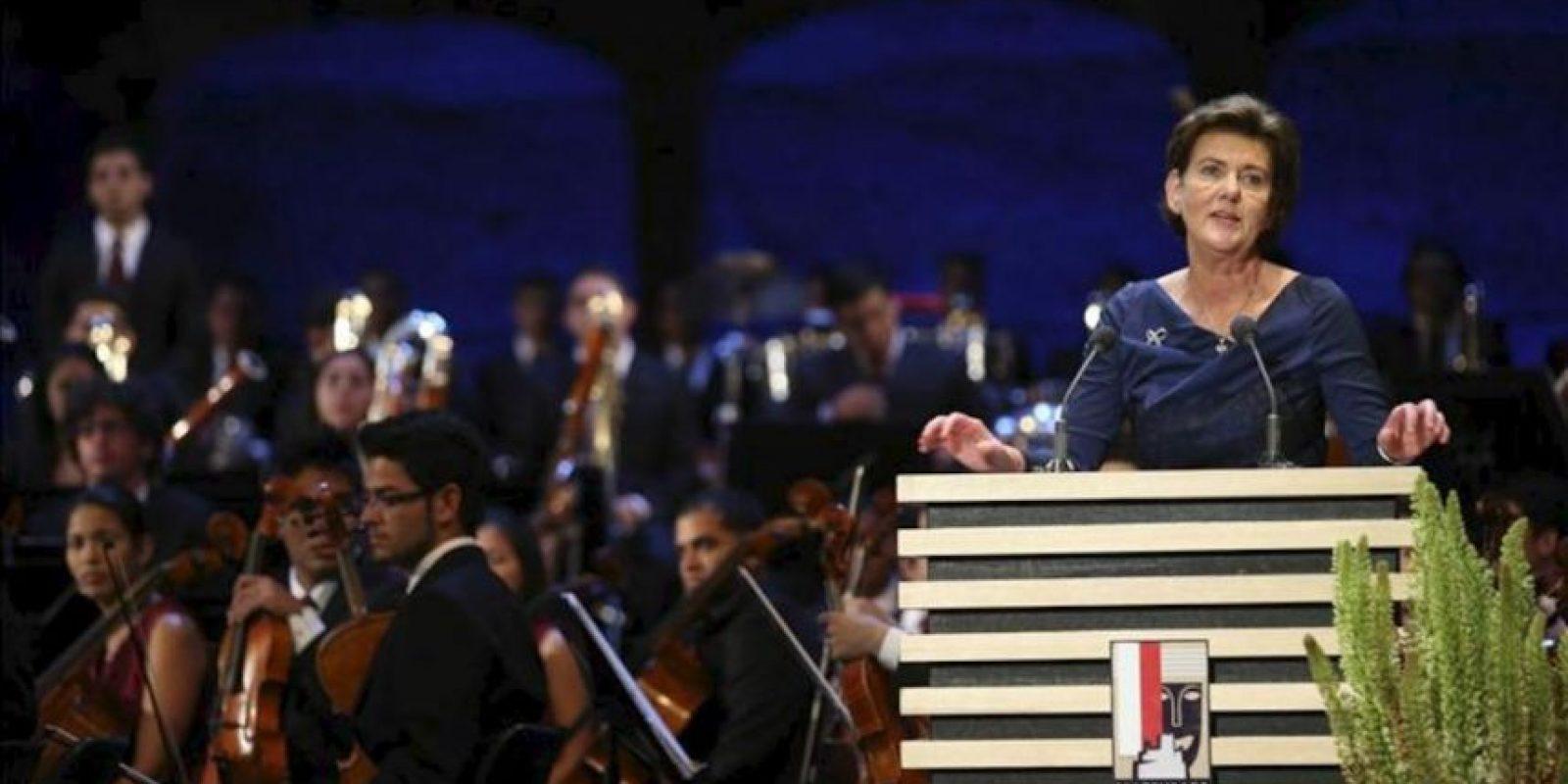 La presidenta del Festival de Salzburgo, Helga Rabl Stadler, ofrece un discurso durante la inauguración del Festival de Salzburgo celebrada en el teatro Felsenreitschule (Austria). EFE