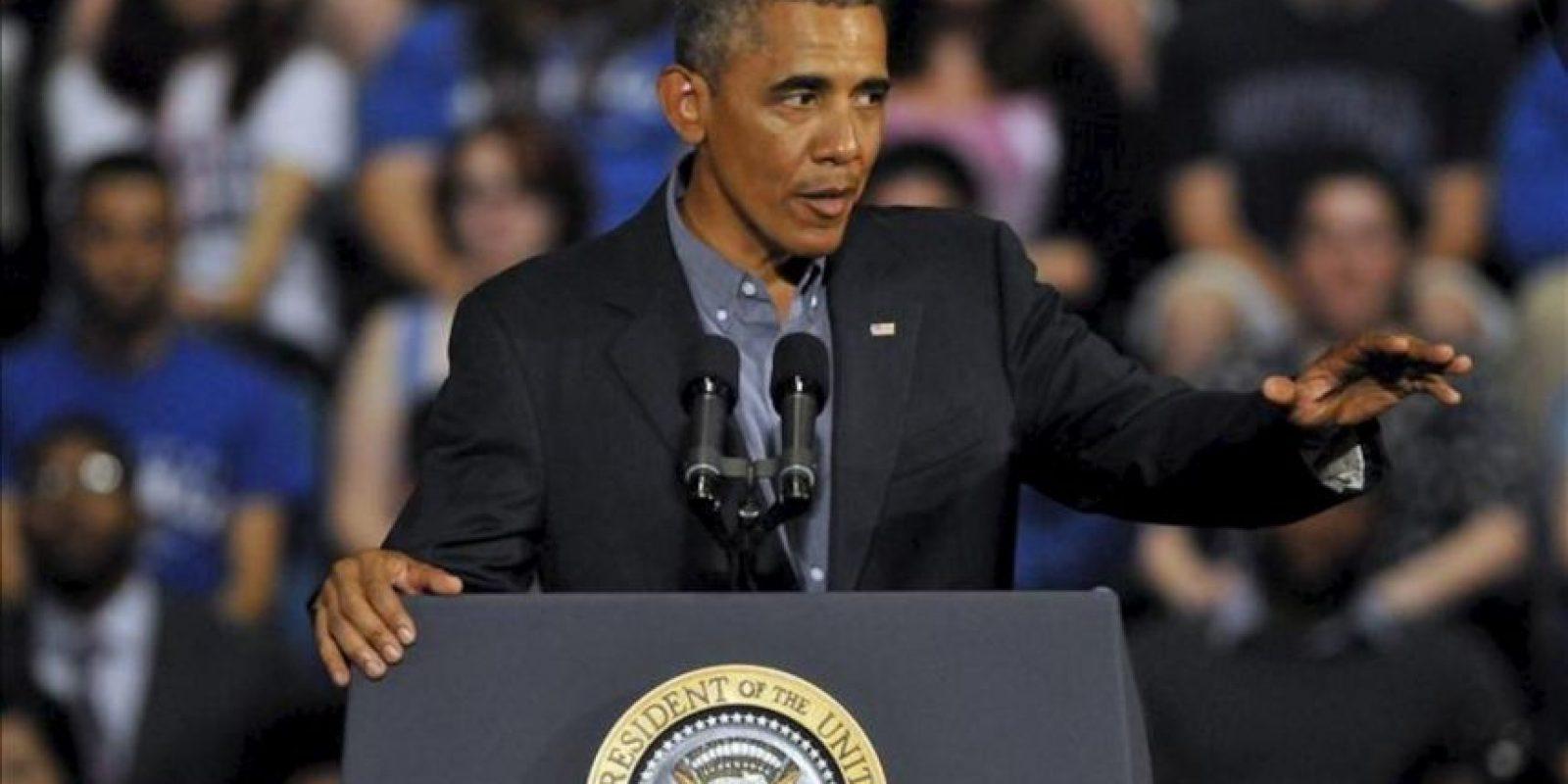 El presidente de EEUU, Barack Obama, durante un discurso que pronunció ayer en la Universidad de Buffalo, en el estado de Nueva York. EFE