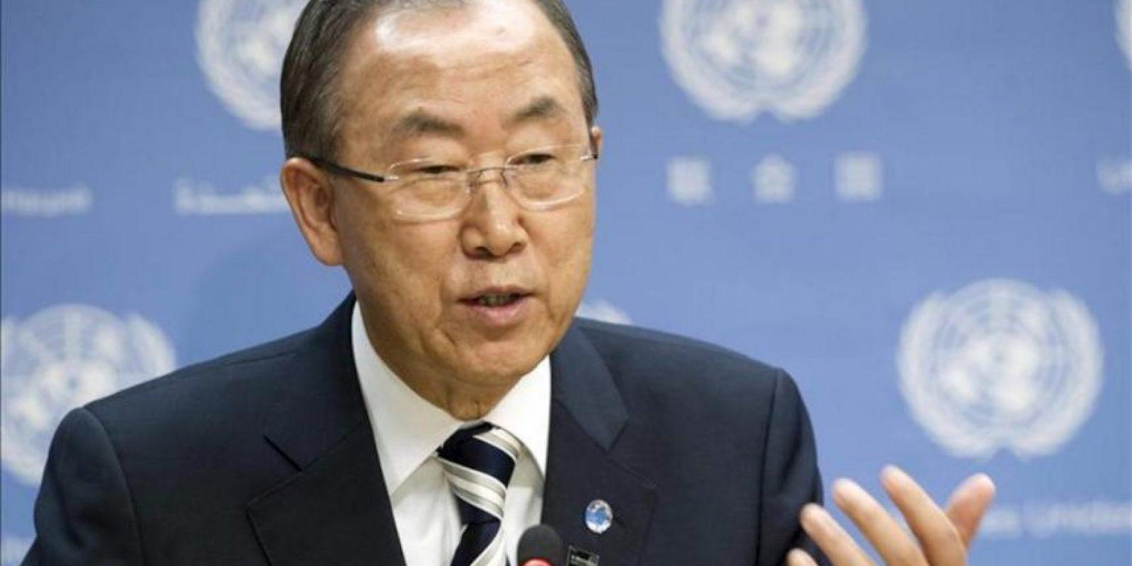 Una imagen cedida muestra al secretario general de la ONU, Ban Ki-moon, hablando durante una rueda de prensa en la sede de la Organización de Naciones Unidas en Nueva York (EE. UU. ). EFE/Archivo