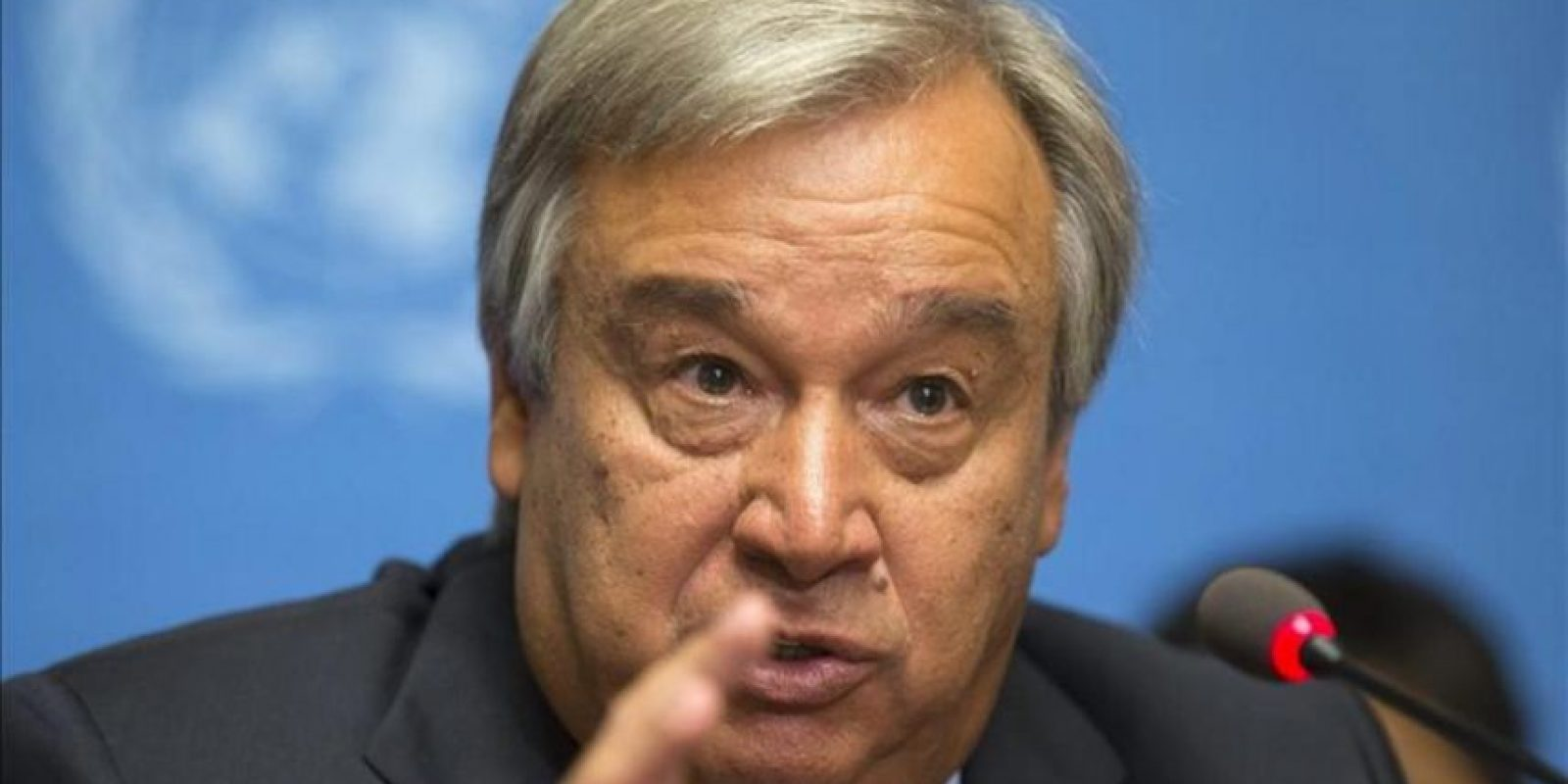 El alto comisionado de la ONU para los Refugiados, Antonio Guterres, ofrece una rueda de prensa hoy, sobre la guerra en Siria que ha provocado el desplazamiento de más de un millón de niños. EFE