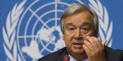 El alto comisionado de la ONU para los Refugiados, Antonio Guterres, ofrece una rueda de prensa hoy, viernes 23 de agosto de 2013 en Ginebra (Suiza) sobre la guerra en Siria que ha provocado el desplazamiento de más de un millón de niños. EFE