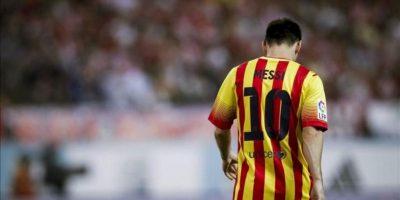 El delantero argentino del FC Barcelona Leo Messi, durante el partido de ida de la Supercopa ante el Atlético de Madrid que se disputó el miércoles en el estadio Vicente Calderón. EFE