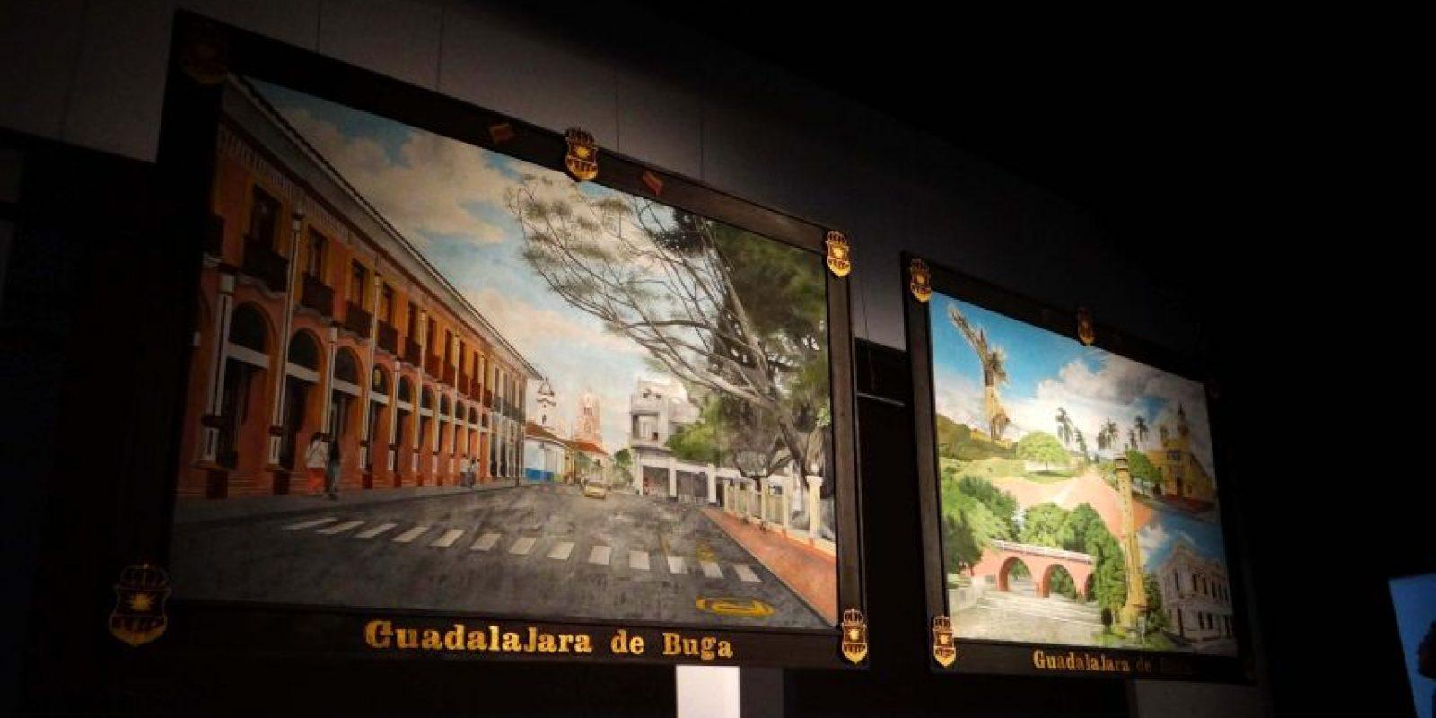 Los cuadros que fueron entregados al Gobierno de Buga por su inclusión en la Red de Pueblos Patrimonio. Foto: Diego Hernán Pérez S. /PUBLIMETRO