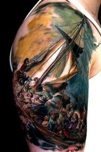 Tormenta en el mar de Galilea por Rembrand. Pinterest.com