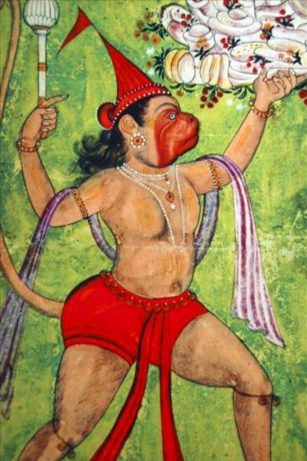 Retrato del fiel sirviente de Rama, el hombre-mono-dios Hanuman, que forma parte de la exposición de pinturas en miniatura del Museo Nacional de Nueva Delhi, inspiradas en Rama, el rey-dios más conocido, y para algunos también el más controvertido, de la mitología india. EFE