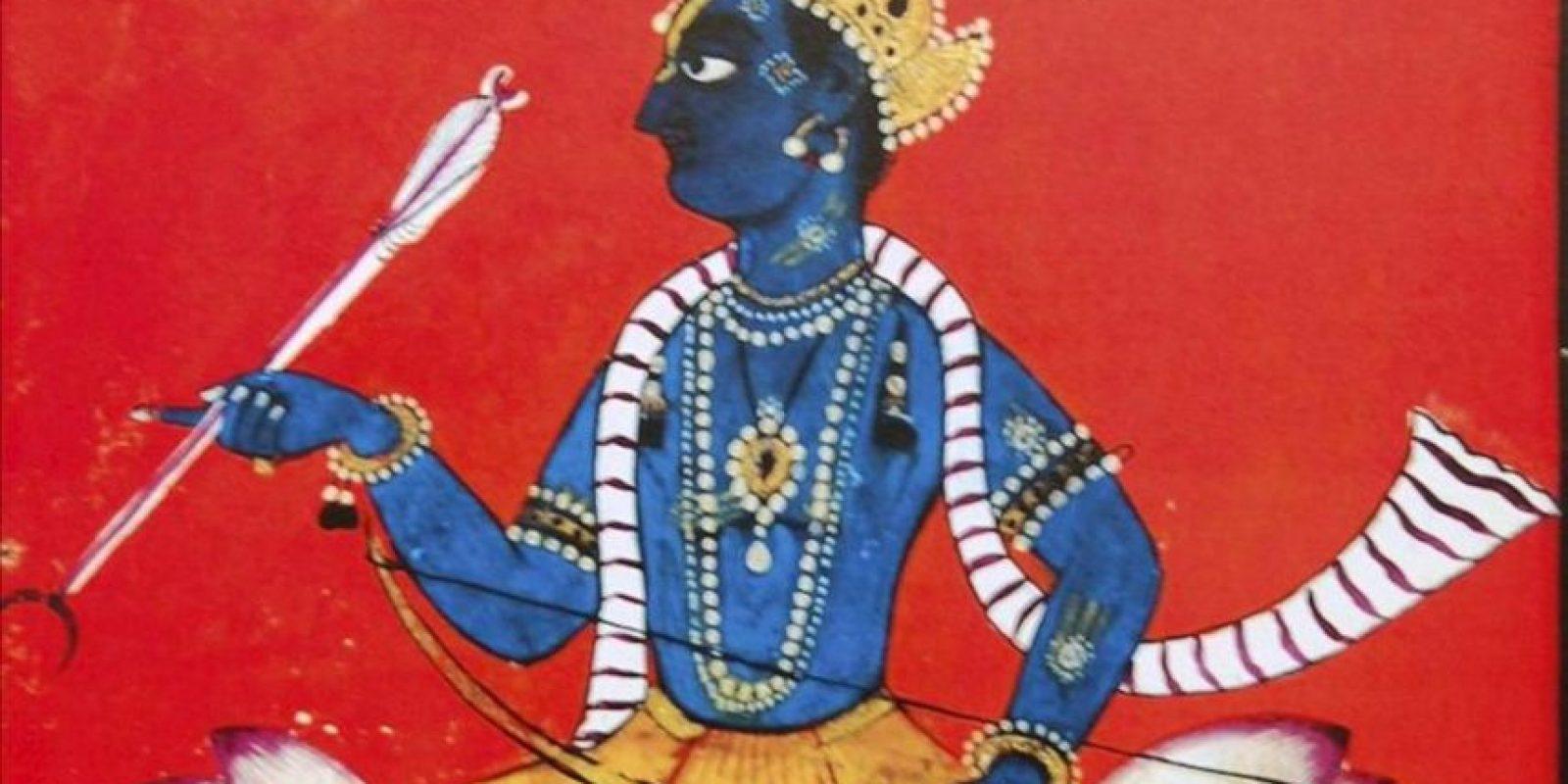 Retrato de Rama que forma parte de la exposición de pinturas en miniatura del Museo Nacional de Nueva Delhi, inspiradas en el rey-dios más conocido, y para algunos también el más controvertido, de la mitología india. EFE