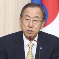 El Secretario General de la ONU, Ban Ki-Moon, durante una rueda de prensa en el Ministerio de Asuntos Exteriores de Corea del Sur, en Seúl. Ban realiza una visita oficial de seis días a Corea del Sur. EFE