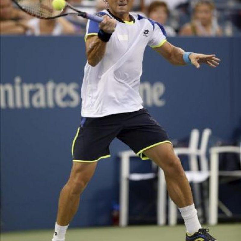 El tenista español David Ferrer en acción ante el australiano Nick Kyrgios, durante su partido en el primer día del Abierto de Tenis de Estados Unidos, disputado en el Centro Nacional de Tenis en Flushing Meadows, en Nueva York (EE.UU.). EFE