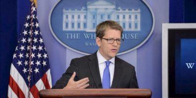 El portavoz de la Casa Blanca, Jay Carney, habla sobre la situación actual en Siria durante una rueda de prensa celebrada en la Casa Blanca, en Washington (Estados Unidos). EFE