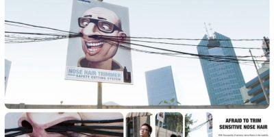 Con cientos de pequeños cables de luz invitan a los habitantes de Indonesia a comprar el podador de pelos de la nariz. Foto:adsofteworld.com