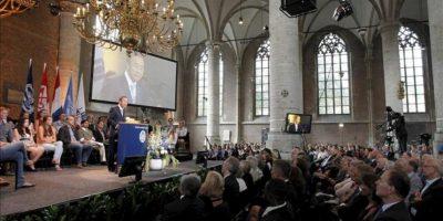 """El secretario general de las Naciones Unidas, el surcoreano Ban Ki-moon, durante la llamada """"Conferencia de la Libertad"""" ('Freedom Lecture'), en la iglesia de Pieterskerk en Leiden, Holanda, hoy 28 de agosto de 2013. EFE"""