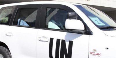 El equipo de inspectores de las Naciones Unidas, liderados por el Profesor Ake Sellstrom, a la salida del hotel donde se alojan en Damasco, Siria, hoy 30 de agosto de 2013. EFE