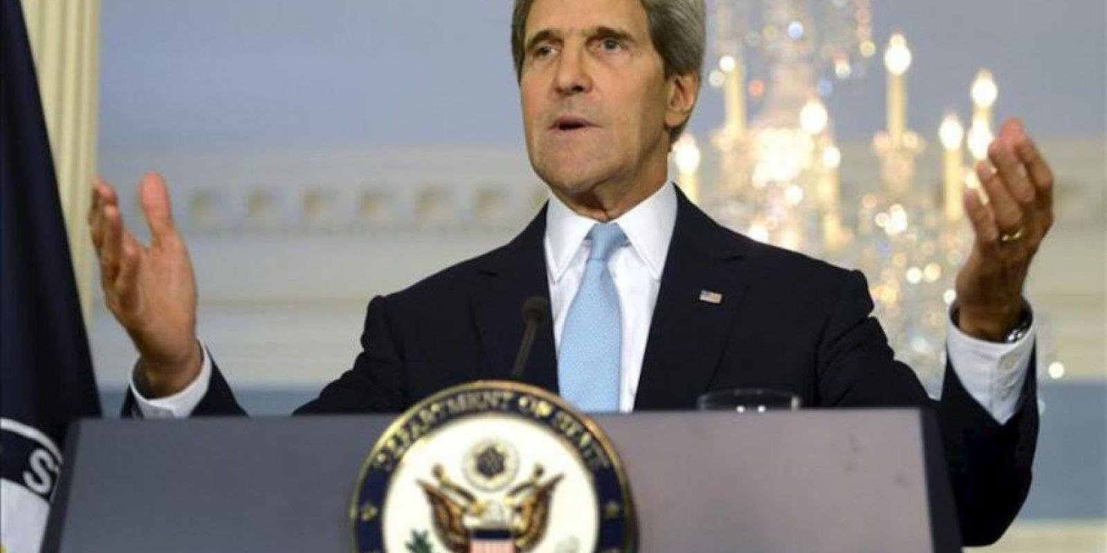 El secretario de Estado de EE.UU., John Kerry, durante las declaraciones sobre Siria que ha realizado en el Departamento de Estado en Washington DC, Estados Unidos este 30 de agosto del 2013. EFE