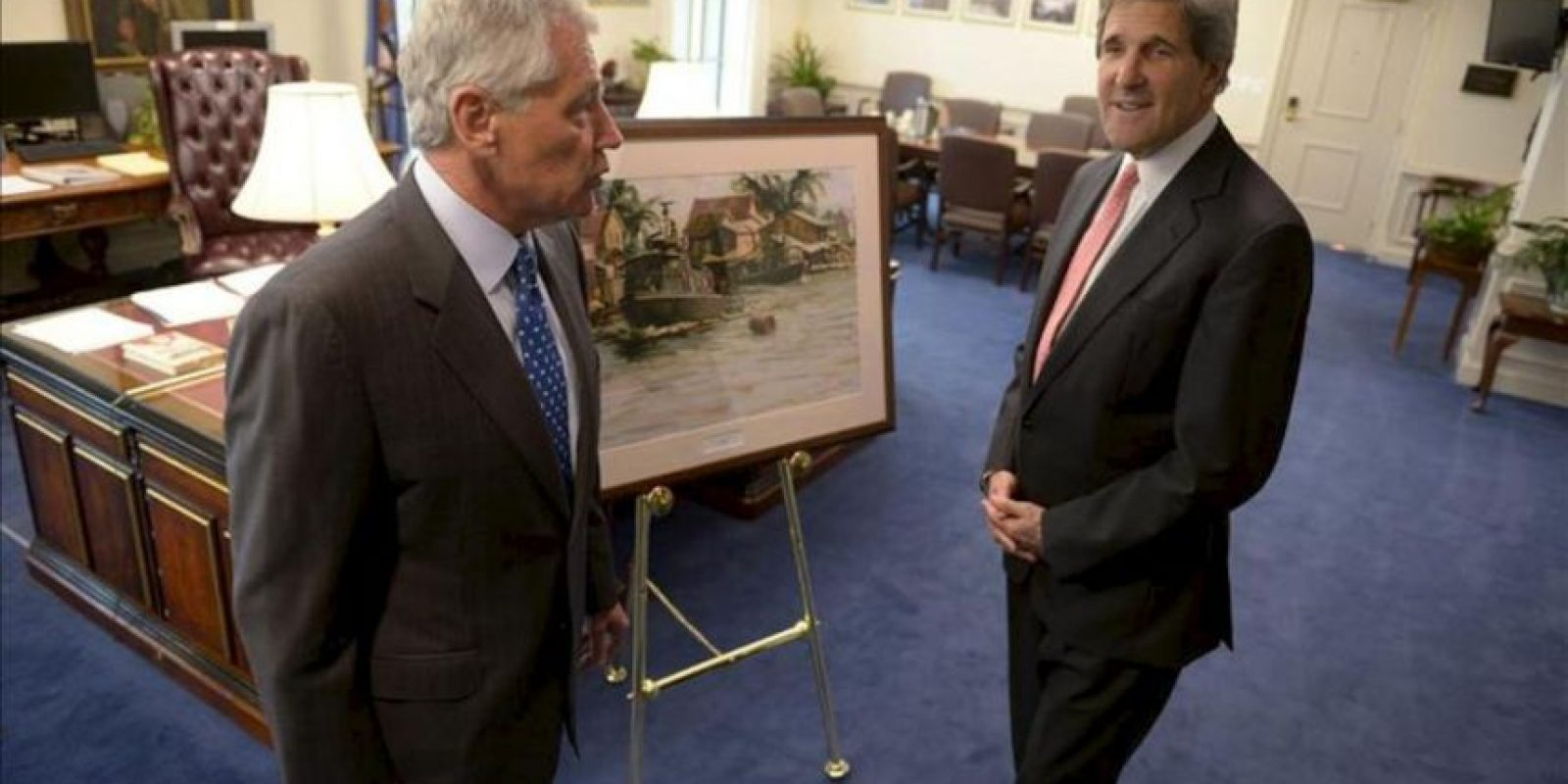 Se prevé que en la conferencia participen, entre otros, los secretarios de Estado, John Kerry (d), y Defensa, Chuck Hagel, y la principal asesora de seguridad nacional de Obama, Susan Rice. EFE/Archivo