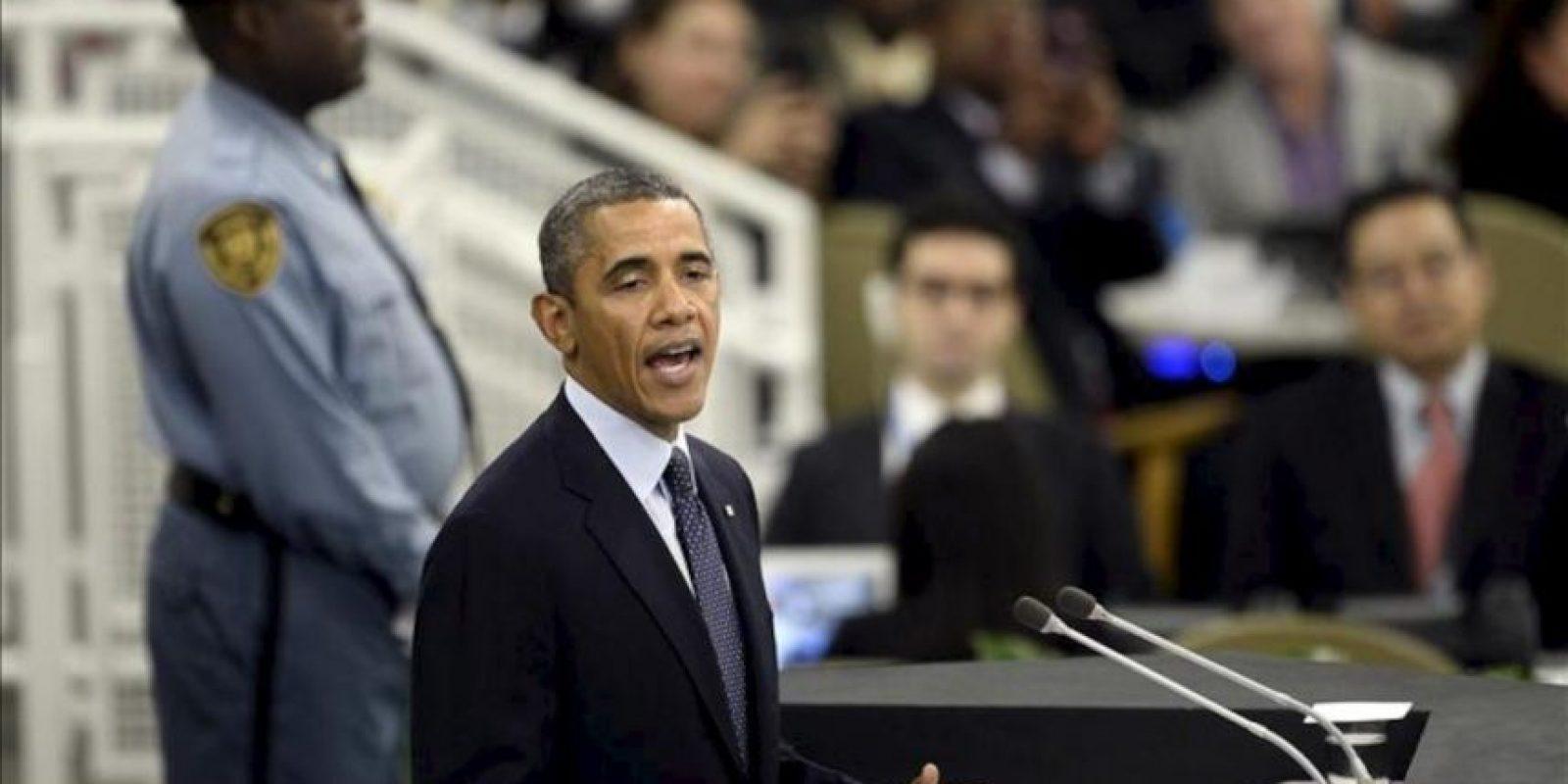 El presidente de Estados Unidos, Barack Obama, fue registrado este martes durante su intervención en el debate general de la 68ª sesión de la Asamblea General de Naciones Unidas, en la sede del organismo en Nueva York (EE.UU.). EFE