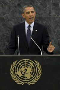 El presidente de Estados Unidos, Barack Obama, pronuncia un discurso durante su intervención en el debate general de la 68ª sesión de la Asamblea General de Naciones Unidas, en su sede en Nueva York (Estados Unidos). EFE