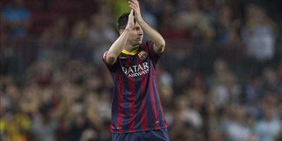 El delantero argentino del FC Barcelona Lionel Andrés Messi durante el partido de la sexta jornada de Liga de Primera División disputado ante la Real Sociedad en el Camp Nou. EFE