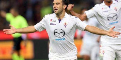 El jugador de Fiorentina Giuseppe Rossi celebra un gol ante Inter de Milán el argentino hoy, jueves 26 de septiembre de 2013, durante el juego de la Serie A italiana que se disputó en el estadio Giuseppe Meazza de Milán, Italia. EFE