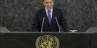 El ministro de Exteriores de Rusia, Serguéi Lavrov, pronuncia su discurso durante los debates de la 68ª Asamblea General de Naciones Unidas, en su sede en Nueva York (Estados Unidos). EFE