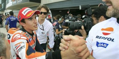 El piloto español de MotoGP Marc Marquez (Honda), tras conseguir la pole position esta mañana en el Circuito Motorland en Alcañiz (Teruel), donde este fin de semana se celebra el Gran Premio de Aragón de motociclismo. EFE