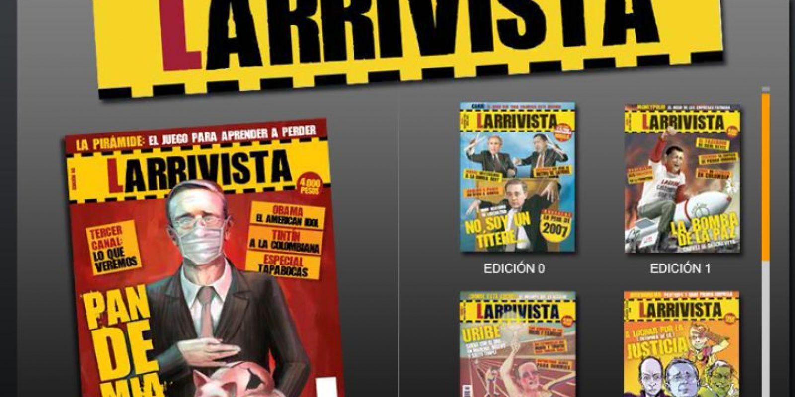 Larrivista: Bajo la dirección de Karl Troller y Eduardo Arias nació en 2007 está revista bimestral que se burla de la actualidad política y sus protagonistas, especialmente en el ámbito nacional pero también de lo que pasa en el mundo. Foto: Captura