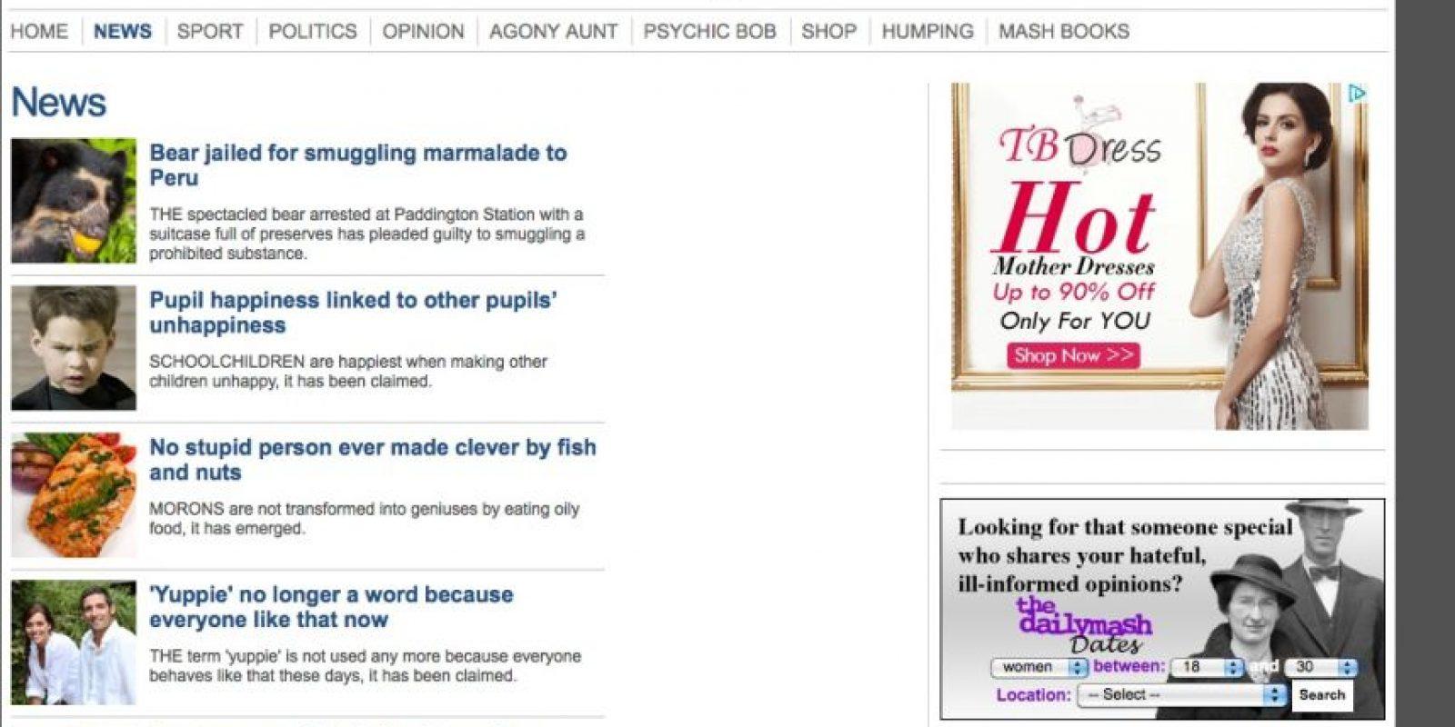 The Daily Mash: Se trata de un sitio web creado por dos periodistas de importantes diarios de Reino Unido en 2007. También trata temas variados temas de actualidad, opinión, deportes. Vale la pena consultar la sección de astrología, donde el psíquico Bob da útiles consejos según su signo zodiacal. Foto: Captura