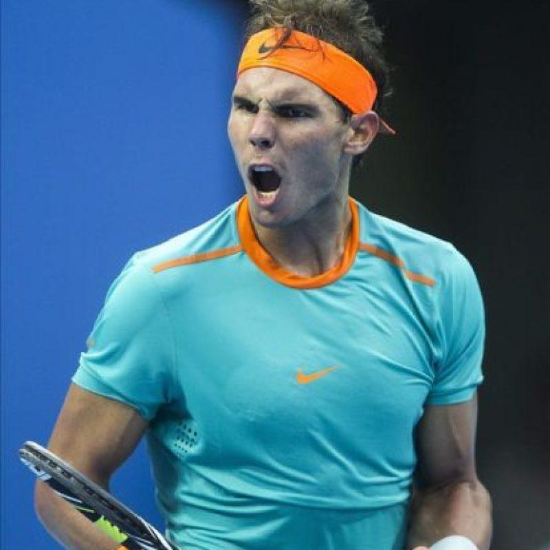 El tenista español Rafael Nadal celebra un punto con el alemán Peter Gojowczyk durante el torneo de tenis de Pekín (China). EFE