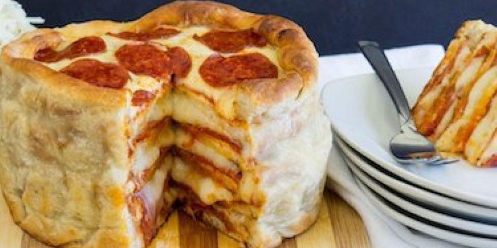 Aquí los pasos para hacer este pastel de pizza: Foto:Pillsbury