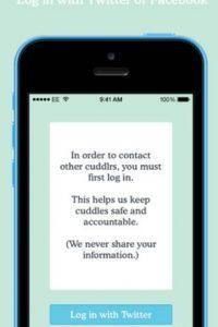 Cuddlr se conecta mediante Facebook o Twitter. Foto:Cuddlr App