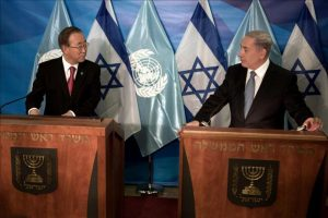El secretario general de la ONU, Ban Ki-moon (i), y el primer ministro israelí, Benjamín Netanyahu, durante una rueda de prensa celebrada en el ámbito de su encuentro en Jerusalén, Israel, hoy. EFE