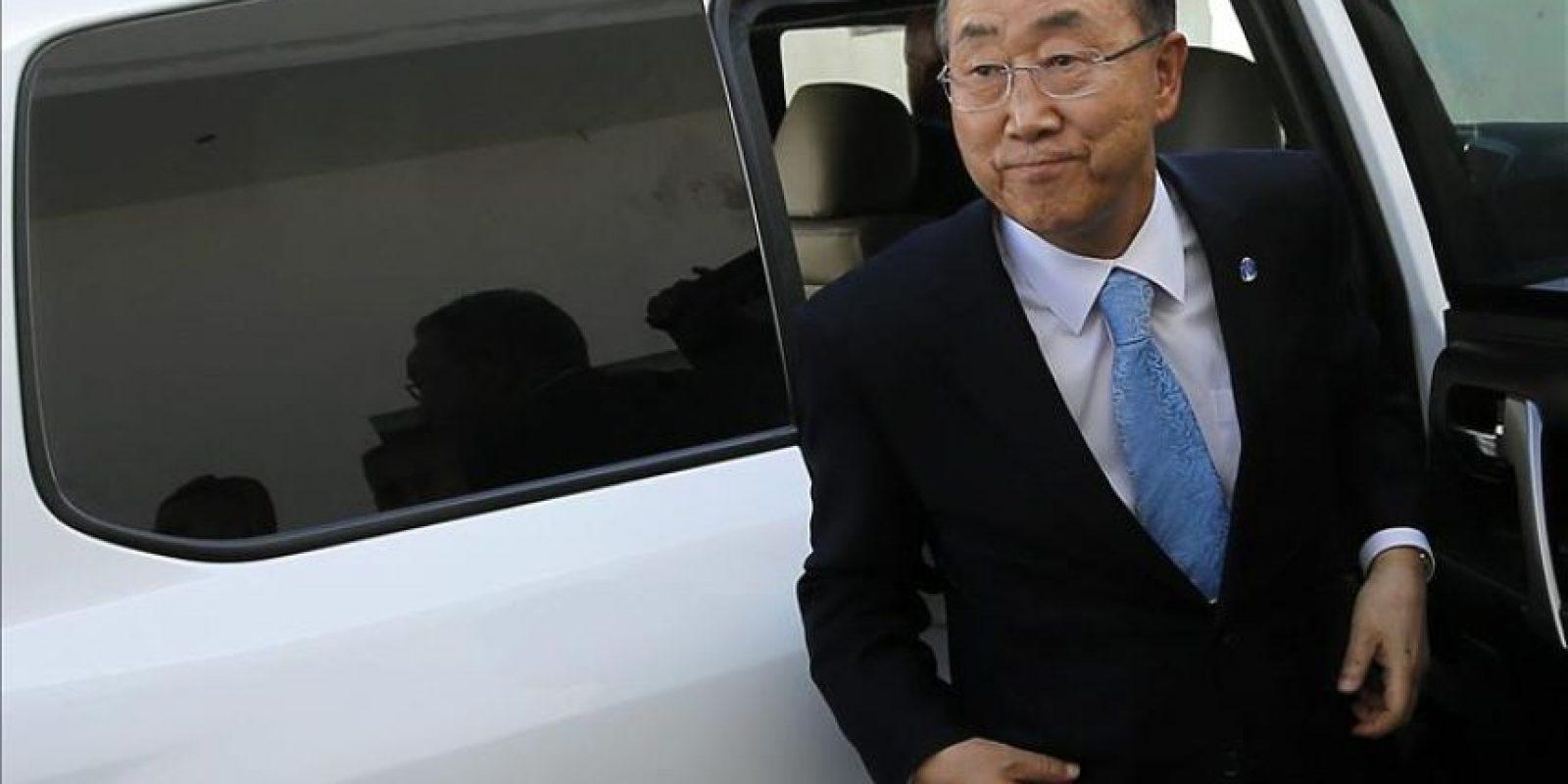 El secretario general de la ONU, Ban Ki-moon, durante su visita al puerto de Gaza en la Ciudad de Gaza, hoy, martes 14 de octubre de 2014. EFE