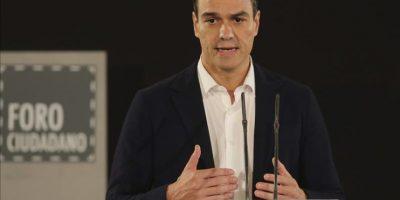El secretario general del PSOE, Pedro Sánchez, en su intervención en el Foro Ciudadano de Limpieza y Calidad Democrática, el pasado 10 de octubre. EFE/Archivo