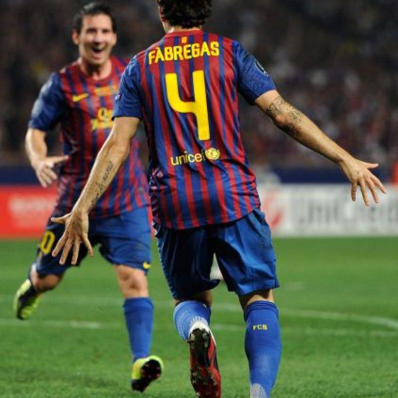 Barcelona venció 2-0 al Porto y Messi festejó uno de los goles de Fábregas. Foto:Getty Images