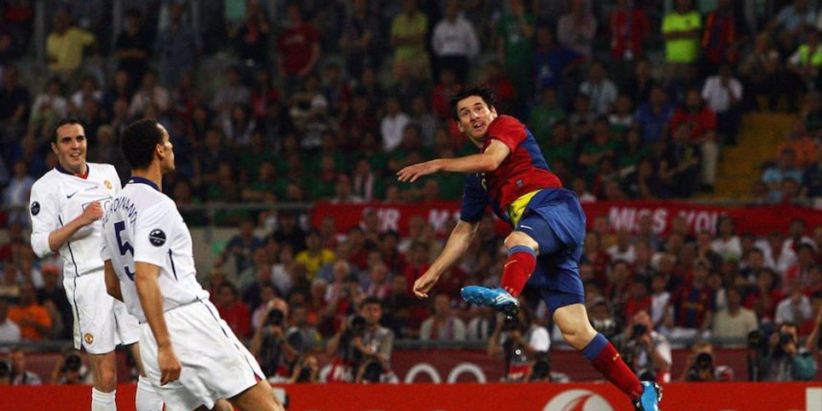 Leo sí pudo jugar la final de la Champions 2009 ante el Manchester United e hizo un gol. Foto:Getty Images