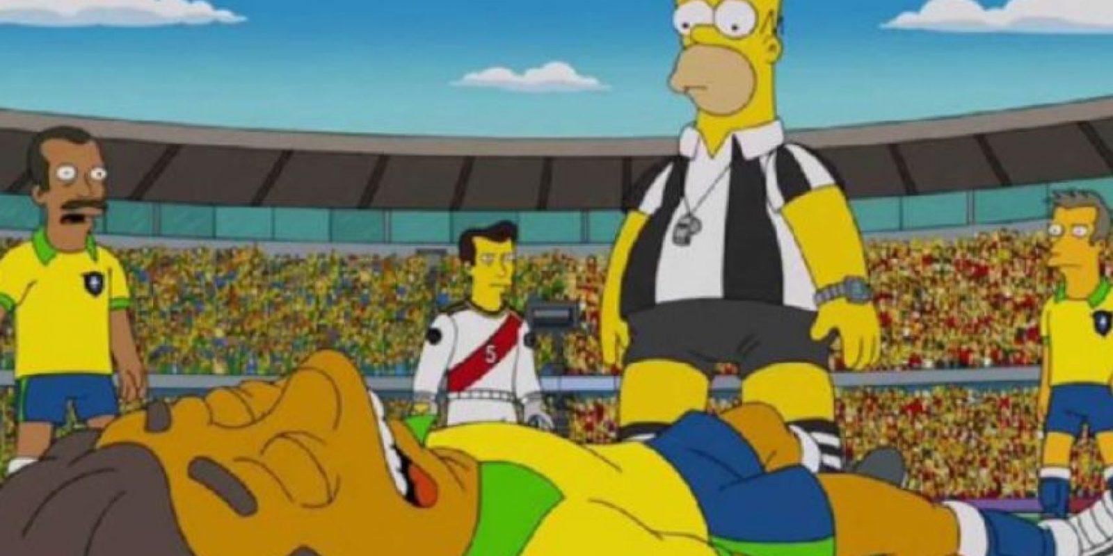 Un capítulo de Los Simpson presentado mucho antes del Mundial, muestra lo que sucedió en el partido Colombia – Brasil, cuando Neymar salió lesionado de la cancha.