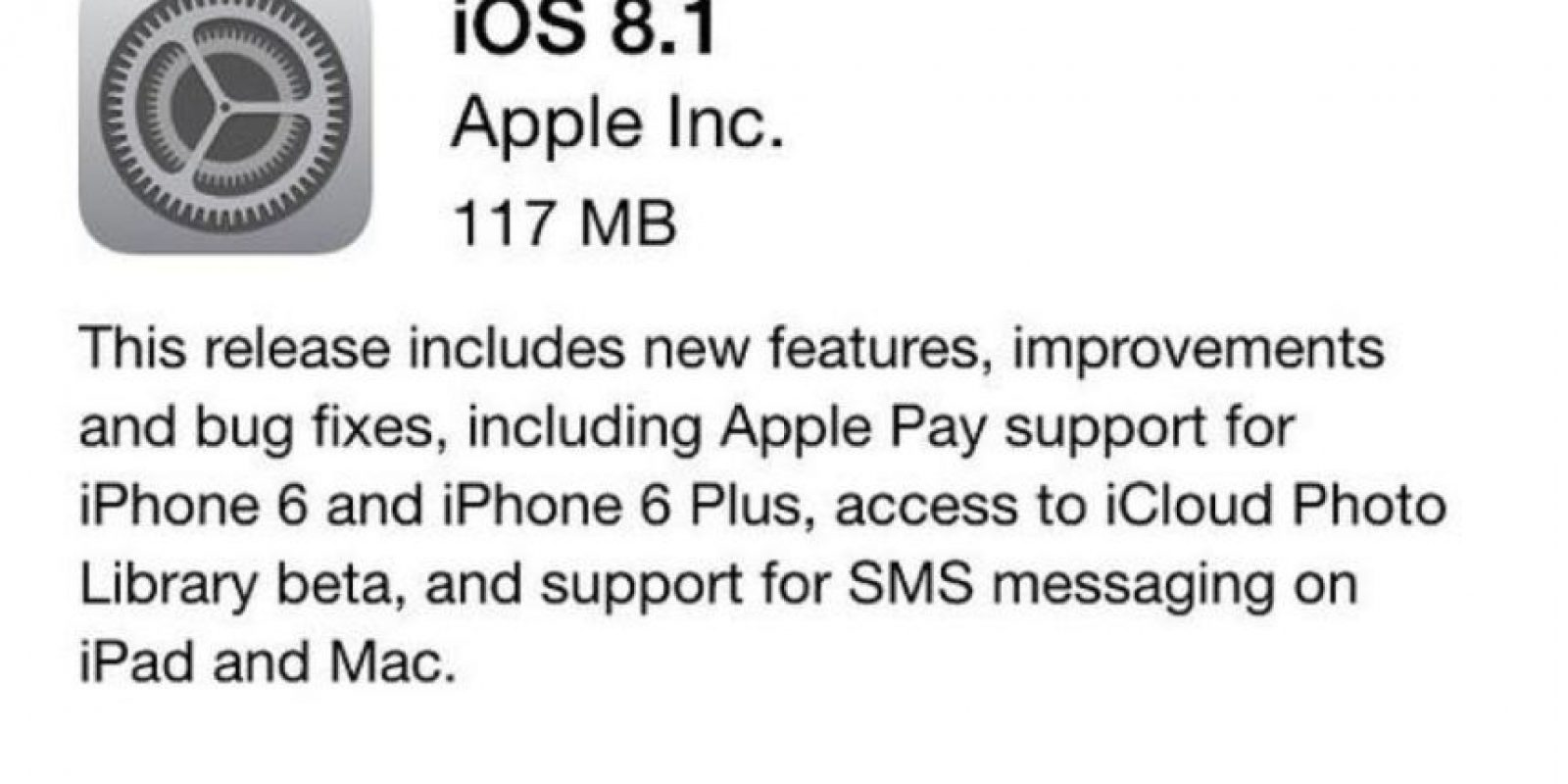 iOS 8.1 ya está disponible de forma gratuita. Foto: Apple