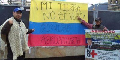 Plantón por el Paro Campesino. Las promesas no se han cumplido. Foto:Twitter