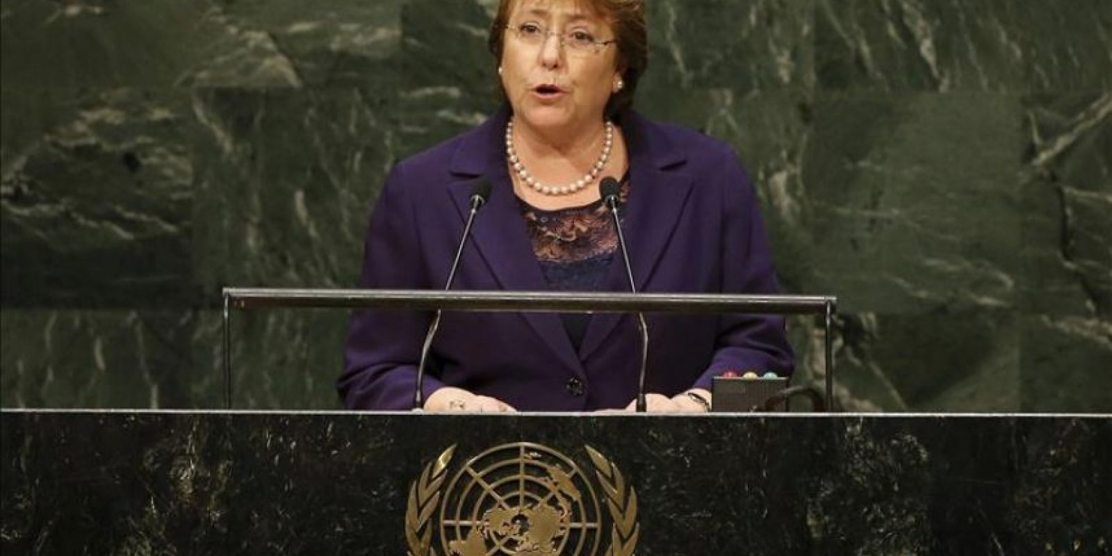 La presidenta chilena Michelle Bachelet durante la Asamblea General de las Naciones Unidas celebrada en Nueva York (Estados Unidos) EFE/Archivo